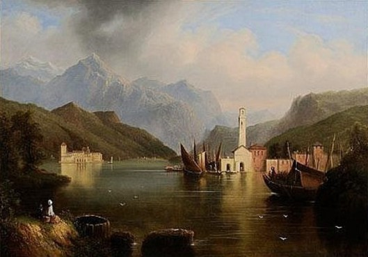 Italian Lake With Figures And Boats (possibly Lake Como)