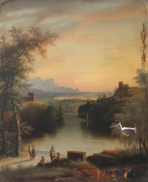 Italianate Landscape With Figures By A River
