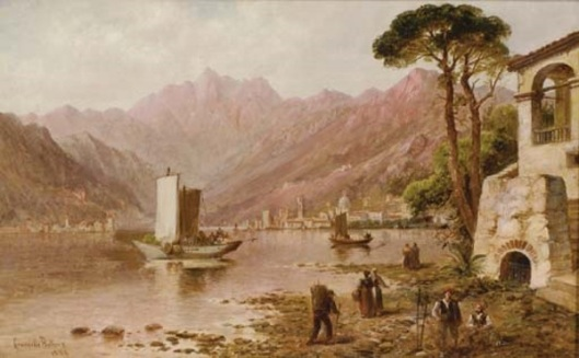 Lake Como With Figures On The Shore