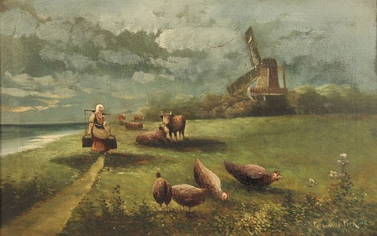 Landscape With Windmill, Cows And Hens