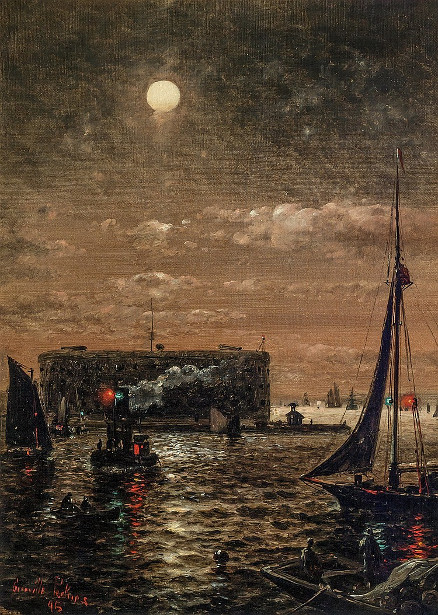 Moonlight Over New York Harbor