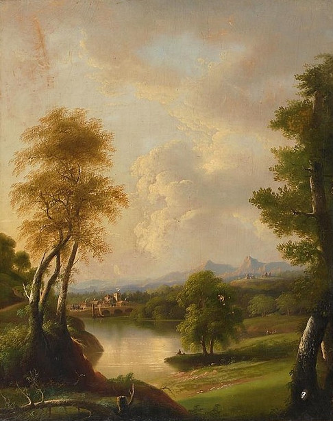 River Landscape With Bridge And Mountains In The Background