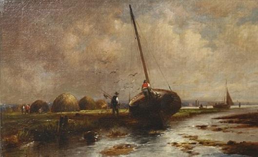 Salt Hay Marsh With Beach Boats