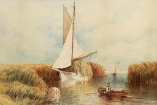 Seascape With Vessels And Figure On A Boat
