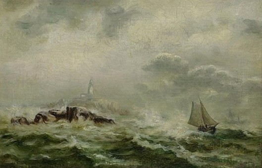 Skiff Of Rocky Coast On Rough Seas