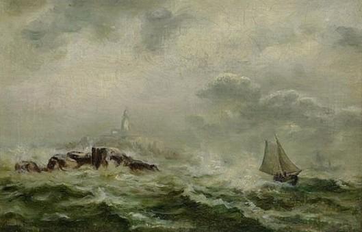 Skiff Of Rocky Coast On Rough Seas