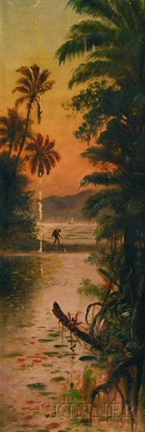 Tropical Coast With Figure Beneath A Crescent Moon