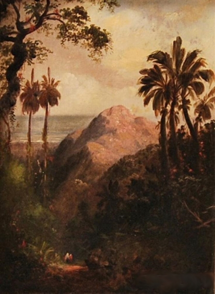 Tropical Coastal Scene With Mountain