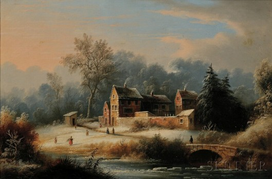 Winter Landscape With Figures, Brick Cottages And An Arched Bridge