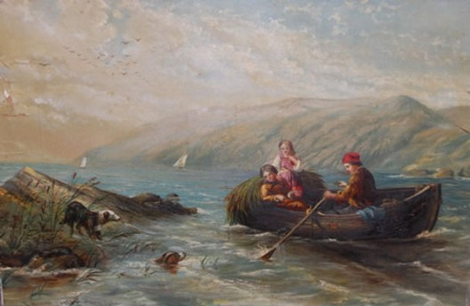 Man And Two Women In A Rowboat