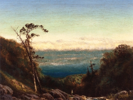 Man Fishing Before A Grand Landscape