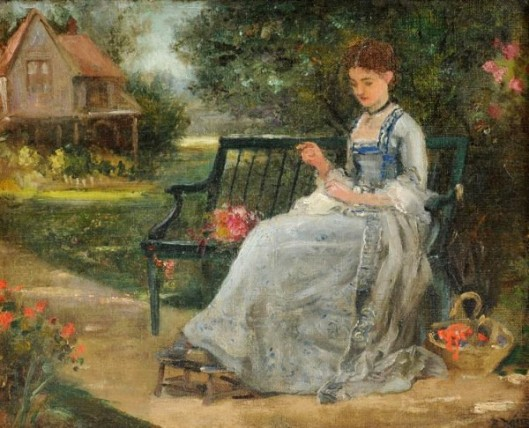 Outdoor Pastimes - Woman Sewing Outdoors