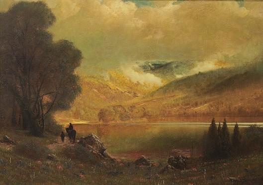 Rider By A Mountain Lake