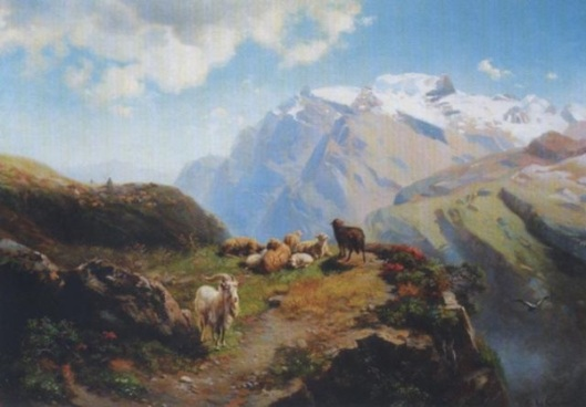 Shepherd With His Herd On High Alps