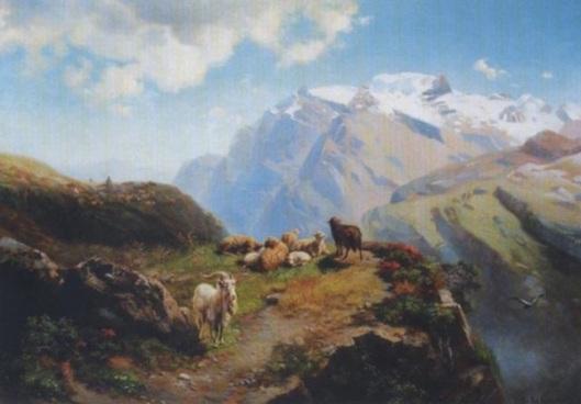 Shepherd With His Herd On High Alps