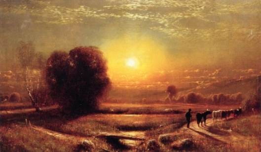 Sunset Landscape With Cows And Herder
