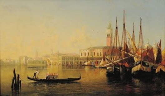 Venice, Morning - Doges Palace, Domes And Tower Of St. Mark's In The Middle Distance